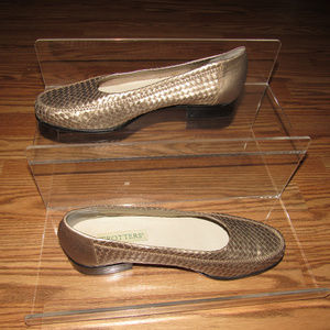 TROTTERS Lane Leather Woven Gold Flats Loafers 11M